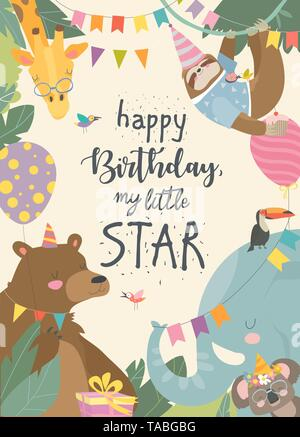 Vector frame with cute animals celebrating Birthday - Stock Photo