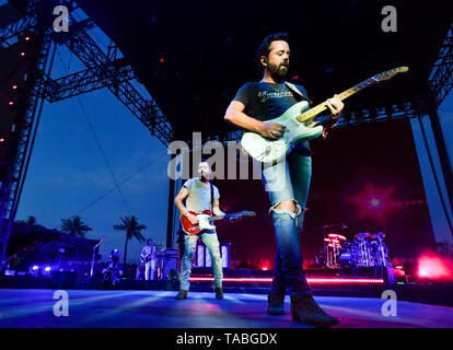 Indio, California, April 28, 2019, Old Dominion on stage performing to an energetic crowd on day 3 of the Stage Coach Country Music Festival. - Stock Photo