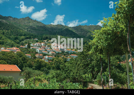 Landscape with cottages on hill covered by trees and cultivated fields at Manteigas. A genuine mountain village at Serra da Estrela in Portugal. - Stock Photo