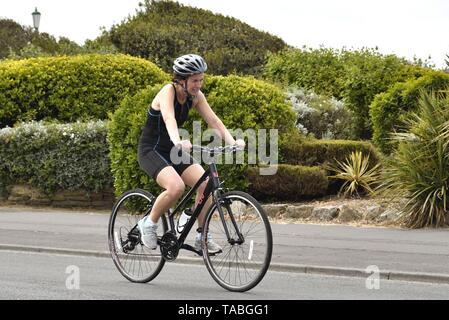 May 19th 2019 St AnnesTriathlon. Male and female triathletes competing in the cycling part of the event. - Stock Photo