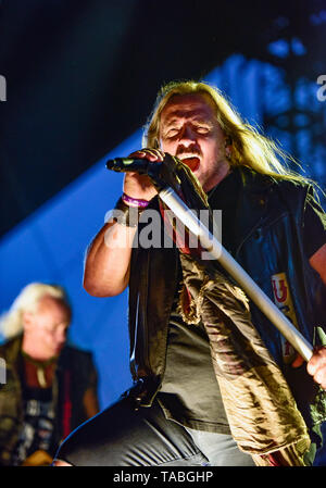 Indio, California, April 27, 2019, Lynyrd Skynyrd on stage performing to an energetic crowd on day 3 of the Stage Coach Country Music Festival. - Stock Photo