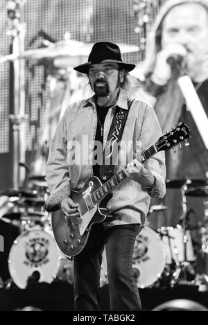 Indio, California, April 27, 2019, Gary Rossington of Lynyrd Skynyrd on stage performing to an energetic crowd at the Stage Coach Music Festival - Stock Photo