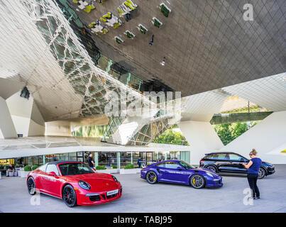 exhibition of Porsche automobiles in the Foyer of the Porsche Museum in Stuttgart-Zuffenhausen, Baden-Württemberg, Germany - Stock Photo