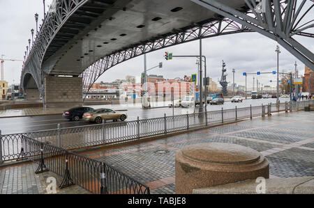 Moscow, Russia - March 22, 2019: View of Moscow under Patriarshiy most bridge - Stock Photo