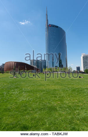 MILAN, ITALY, 05/06/2019: vertical photo of the Unicredit Tower and the Unicredit Pavillion in Gae Aulenti square in Milan, financial district, view f - Stock Photo