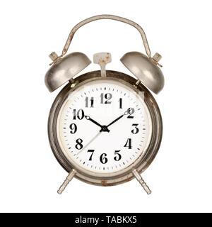 Metal alarm clock isolated on white background - Stock Photo