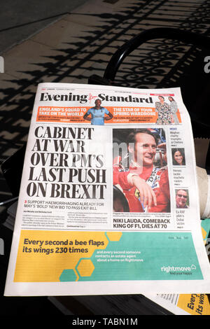 Evening Standard Theresa May Brexit newspaper headline on newsstand 'Cabinet at War Over PM's Last Push on Brexit' outside the Houses of Parliament in Westminster London UK  21 May 2019 - Stock Photo