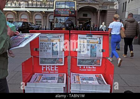 Evening Standard Theresa May Brexit newspaper headline on newsstand 'PM's Last Chance Vote May be Off' outside Charing Cross Station in Westminster London UK  21 May 2019 - Stock Photo