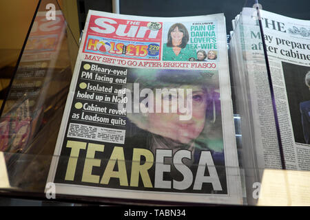 The Sun newspaper headline front page 'TEARESA May Set to Go After Brexit Fiasco'  and Cabinet revolt as Andrea Leadsom quits on  23 May 2019 in the buildup to a Conservative Tory leadership contest in Westminster London England UK - Stock Photo
