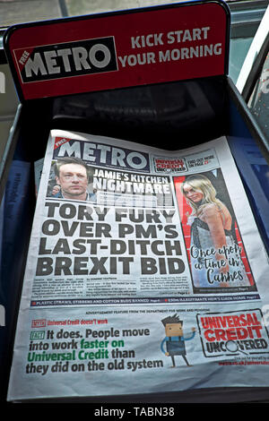 Metro newspaper front page headlines  'TORY FURY OVER PM'S LAST-DITCH BREXIT BID' by Theresa May to get Withdrawal Agreement on 22nd May 2019 in the buildup to a Conservative Tory leadership contest in newspapers on a newsstand Westminster London England UK - Stock Photo