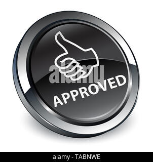 Approved (thumbs up icon) isolated on 3d black round button abstract illustration - Stock Photo