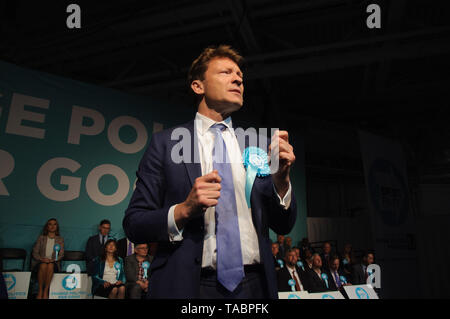 Richard Tice chairman of the Brexit Party addressing rally at London Olympia on 21 May 2019 before the European Election Vote on the 23 May - Stock Photo
