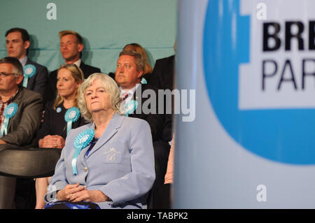 Ann Widdecombe addressing the Brexit Party rally at London Olympia on 21 May 2019 before the European Election Vote on the 23 May - Stock Photo