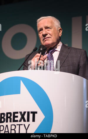 Former Czech President Vaclav Klaus at Brexit Party rally at London Olympia on 21 May 2019 before the European Election Vote on the 23 May - Stock Photo