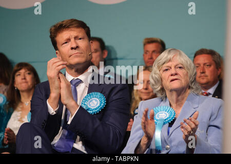 Richard Tice, Chairman and Ann Widdecombe at Brexit Party rally in London Olympia on 21 May 2019 before the European Election Vote on the 23 May - Stock Photo