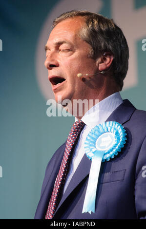 Nigel Farage addressing the Brexit Party rally at London Olympia on 21 May 2019 before the European Election Vote on the 23 May - Stock Photo