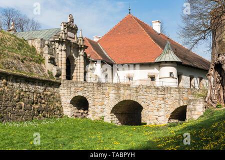 NOWY WISNICZ, POLAND - APRIL 25, 2019: Renaissance and Baroque Castle in Nowy Wisnicz, near Tarnow, in spring scenery,Poland. - Stock Photo