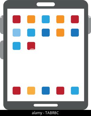Tablet with applications menu symbol - Stock Photo