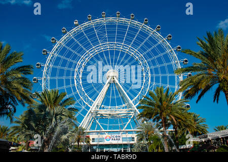 Orlando, Florida. May 16, 2019. Orlando Eye ride experience.The Wheel at ICON Park Orlando is a 400-foot-tall giant observation wheel in International