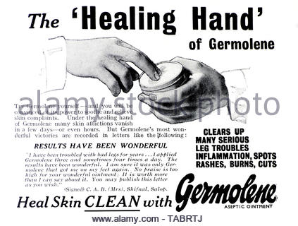 Vintage advertising for Germolene antiseptic cream from 1945 - Stock Photo