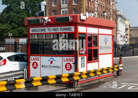 Red funnel ferries booth to arrive cars for red funnel ferries departing the port for the Isle of Wight. (99) - Stock Photo