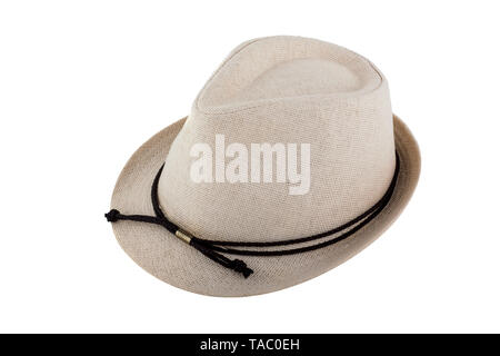 Mens Womens Straw Hat isolated on white background - Stock Photo