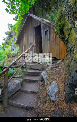 Arrowtown's historical Chinese settlement features many restored huts used by the Chinese miners during the 1880s, Arrowtown, South Island New Zealand - Stock Photo