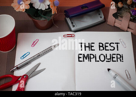 Handwriting text The Best Employer. Conceptual photo created workplace showing feel heard and empowered - Stock Photo