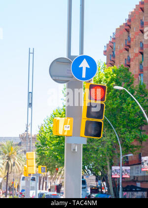 An urban picture of a traffic light in barcelona. - Stock Photo