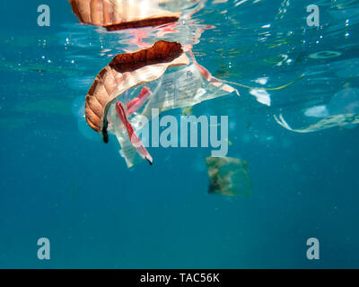 Plastic waste floating in the sea