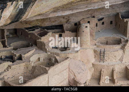 USA, Colorado, Mesa Verde National Park, Cliff Palace, indian dwelling - Stock Photo