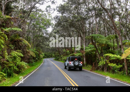 USA, Hawaii, Volcanoes National Park, off-road vehicle on the Crater Rim Drive - Stock Photo