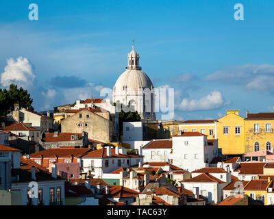 Portugal, Lisbon, Alfama, View from Miradouro de Santa Luzia over district, National Pantheon - Stock Photo