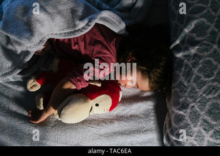 Toddler girl sleeping in bed with a soft toy dog orang-utan - Stock Photo