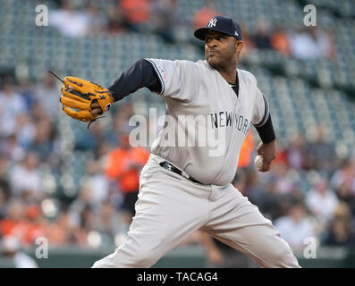 Baltimore, United States Of America. 22nd May, 2019. New York Yankees starting pitcher CC Sabathia (52) works in the first inning against the Baltimore Orioles at Oriole Park at Camden Yards in Baltimore, MD on Wednesday, May 22, 2019. Credit: Ron Sachs/CNP (RESTRICTION: NO New York or New Jersey Newspapers or newspapers within a 75 mile radius of New York City) | usage worldwide Credit: dpa/Alamy Live News - Stock Photo