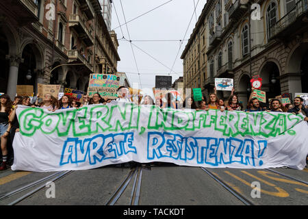 Turin, Italy. 24th May, 2019. Campaigners for action on climate change protest with placards in city centre as part of Fridays for Future climate strikes. Credit: MLBARIONA/Alamy Live News - Stock Photo