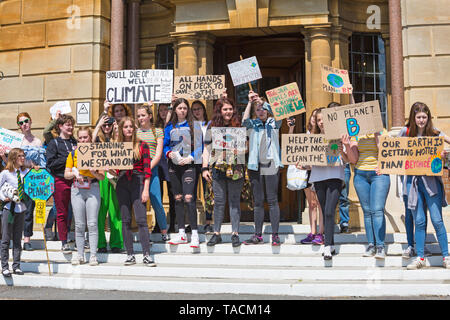Bournemouth, Dorset, UK. 24th May 2019. Youth Strike 4 Climate gather in Bournemouth Square with their messages about climate change, before marching to the Town Hall where a long letter on wallpaper roll signed by supporters was received by Simon Bull.  Credit: Carolyn Jenkins/Alamy Live News - Stock Photo