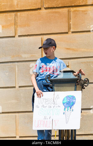 Bournemouth, Dorset, UK. 24th May 2019. Youth Strike 4 Climate gather in Bournemouth Square with their messages about climate change, before marching to the Town Hall.  Treat the planet like it is the Earth not Uranus sign.  Credit: Carolyn Jenkins/Alamy Live News - Stock Photo