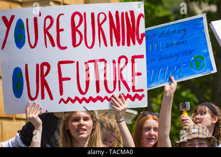 Bournemouth, Dorset, UK. 24th May 2019. Youth Strike 4 Climate gather in Bournemouth Square with their messages about climate change, before marching to the Town Hall where a long letter on wallpaper roll signed by supporters was received by Simon Bull.  You're burning our future sign. Credit: Carolyn Jenkins/Alamy Live News - Stock Photo