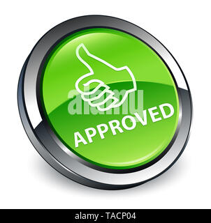 Approved (thumbs up icon) isolated on 3d green round button abstract illustration - Stock Photo