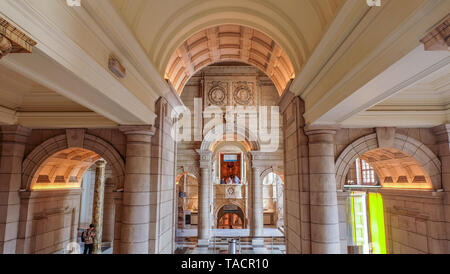 LONDON UK - Apr 21, 2019 - Interior the beautiful architecture of the Albert and Victoria Museum in South Kensington, London, England, United Kingdom. - Stock Photo