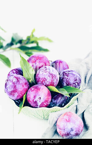 Bowl of freshly picked organic plums with leaves. Image shot from high angle view with room for text. - Stock Photo