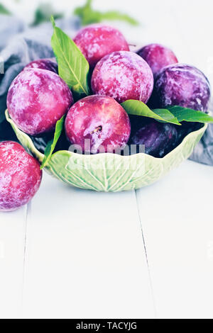 Freshly picked homegrown organic plums from the tree with leaves in a bowl. - Stock Photo