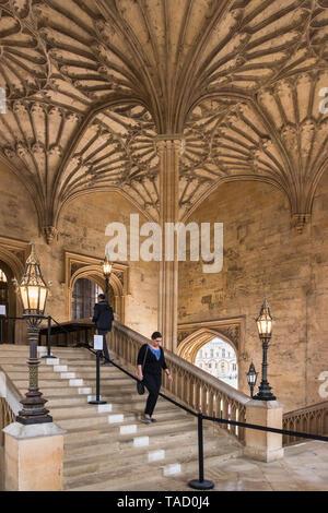 Bodley Tower Hall Staircase, Christ Church, Oxford University, UK - Stock Photo