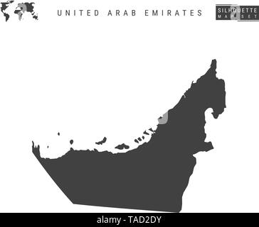 United Arab Emirates Vector Map Isolated on White Background. High-Detailed Black Silhouette Map of UAE - Stock Photo
