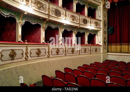 Busseto Parma Italy. The Teatro Giuseppe Verdi inside Rocca Pallavicino - Stock Photo