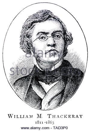 William Makepeace Thackeray portrait, 1811 – 1863, was a British author - Stock Photo