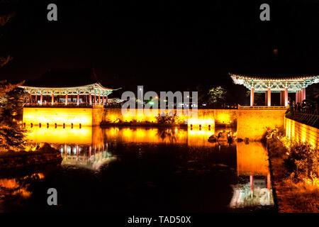 Korean Gyeongju Tours Shilla Wall-ji Night Scenic Area - Stock Photo