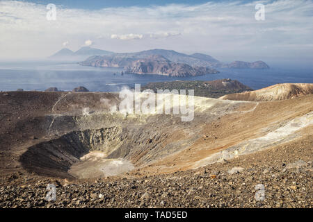 Aeolian Islands, Vulcano, Panoramic view from volcano - Stock Photo