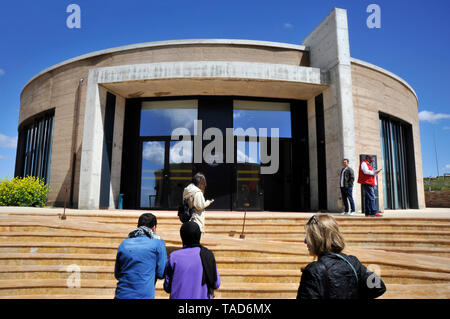 Exterior architecture  of Administrative Building at ancient archaeological site  of Gobekli Tepe in Sanliurfa, Turkey - Stock Photo